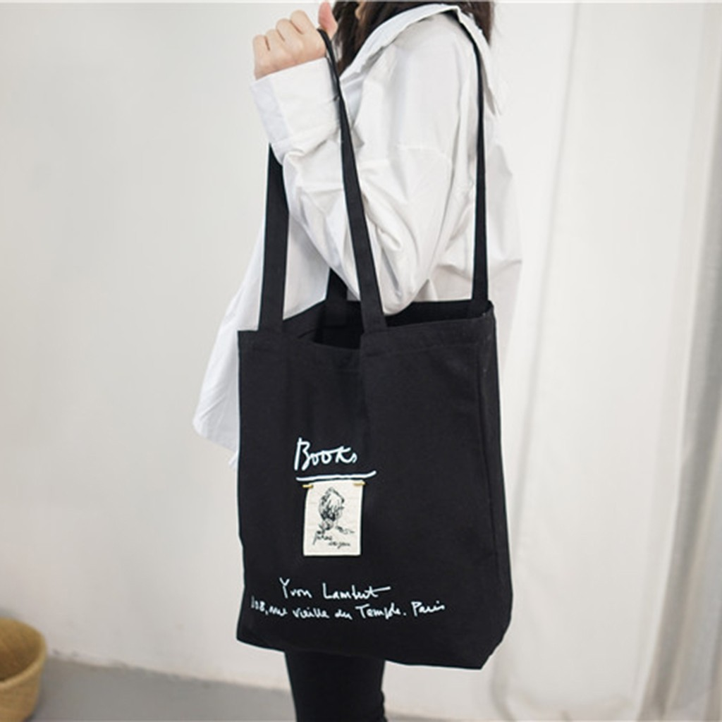 Women Canvas Shopping Bag Letters Print Female Cotton Cloth Shoulder Bag Eco Handbag Tote Reusable Grocery Shopper Bags 12C