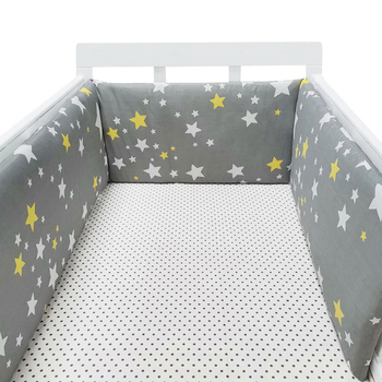 baby nursery Nordic Stars Design Baby Bed Thicken Bumper One-piece Crib Around Cushion Cot Protector Pillows Newborns Room Decor 20