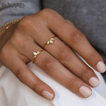 ROMAD Dainty CZ Crystal Engagement Wedding Rings for Women 925 Sterling Silver Thin Finger Ring Gold Marquise Zircon R50