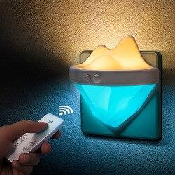 Plug-in lampka nocna pilot na podczerwień ściemnianie lampka nocna regulowana jasność w kształcie góry lodowej opieka nad dzieckiem sypialnia Toile