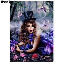 Envío Gratis 5d diy completo cuadrado redondo diamante pintura bosque Hada belleza diamante bordado mosaico Cruz kits hobby(China)