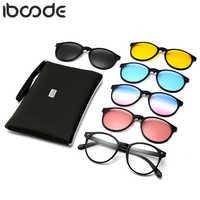 Iboode 6 en 1 mode Clip sur lunettes De soleil femmes cadres Clips magnétique lunettes De soleil aimant lunettes hommes miroir Oculos De Grau nouveau