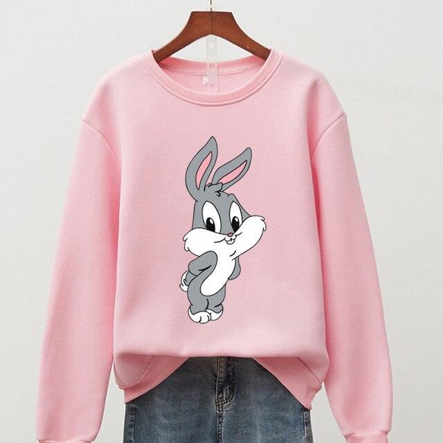 Hot Hit Winter Print Rabbit & Mouse 15 Colors S-3XL Oversize Harajuku Hoodies Women Long Sleeve Casual Couple Sweatshirts Autumn 3
