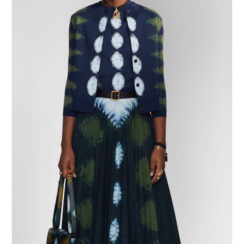 Cosmicchic 2020 Women 2 Piece Set Cotton Geometric Prints Long Sleeve Vintage Blouses High Waist Maxi Pleated Skirt Set Runway