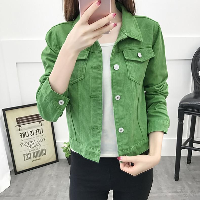 Basic Jeans Jacket Women Green 2019 Autumn Woman Denim Jean Womens Coats Jackets Female Slim Stretch Short Coat Feminina Clothes (11)