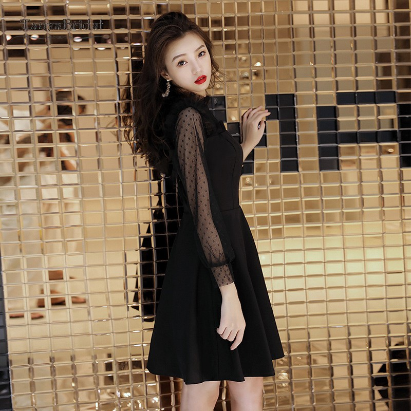 Elegant Black Cocktail Dress Party Gowns Long Sleeves Short Mini A Line Points Cocktail Robe Homecoming Dresses