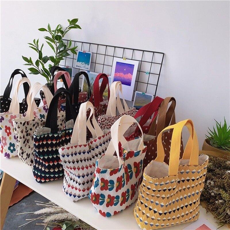 Мини парусиновые сумки-шопперы для женщин 2021 эко хлопчатобумажной ткани милый Малый мешок обеда с модным принтом сумки дети полосатый пище...