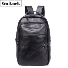 GO-LUCK Brand Large Black Genuine Leather 17' Computer Laptop Business Backpack Men's Casual Travel Daypacks School Student Bags