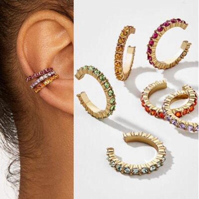 6PC Ear Puncture Rainbow Color Zircon Cartilage Earrings for Woemn Ear Buckle Creative Simple Tiny Ring.jpg 640x640 - 6PC Ear Puncture Rainbow Color Zircon Cartilage Earrings for Woemn Ear Buckle Creative Simple Tiny Ring with diamonds Jewelry