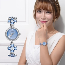 New Three-color Goddess Watch Wristwatch Lucky Four-leaf Clover Shape Classic Ladies Quartz With 28 Rhinestone Watches