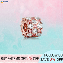 2020 New Arrival S925 Sterling Silver Beads Pink & Clear Sparkling Charms fit Original Pandora Bracelets Women DIY Jewelry new arrival 100% new beads sparkling pave charms cz fit original pandora bracelets women diy jewelry