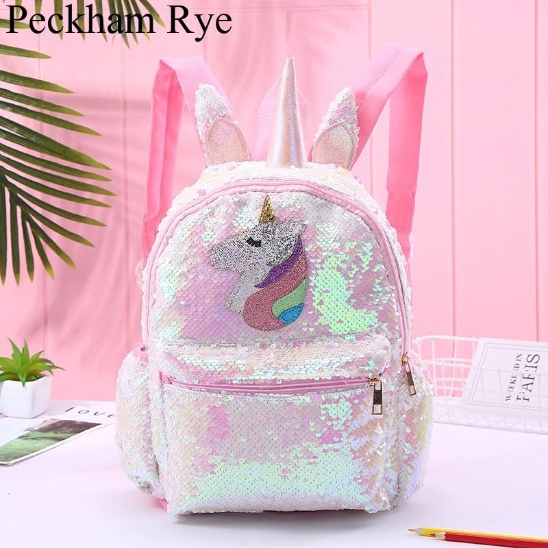 New Unicorn Large Capacity Sequin School Bags For Girls Mochila Escolar Backpack Cute Cartoon Schoolbag Girl School Backpack