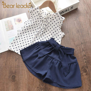 girls clothing set polka dot kids tops with mathing leggings 2018 spring children outfits 4 10 15 years girls clothes sets Bear Leader Girls Casual Clothing Sets 2021 New Fashion Kids Polka Dot Top and Pants Summer Outfits Kid Children Clothes 2Pcs