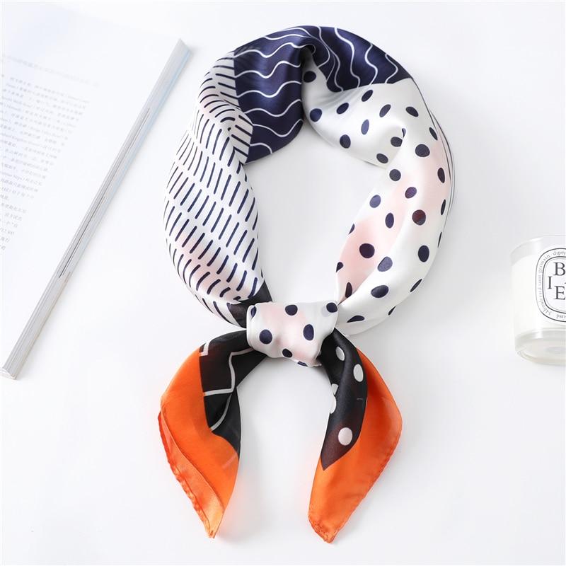 2020 Design Silk Scarf For Women Print Neck Scarves Hair Wraps Lady Small Square Foulard Shawls Pashmina Fashion Female Bandana