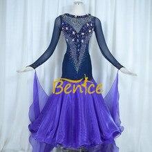 Стандартный бальный зал, платье для женщин, новинка, на заказ, с высоким воротником, с длинными рукавами, для вальса, бальных танцев, платья для соревнований