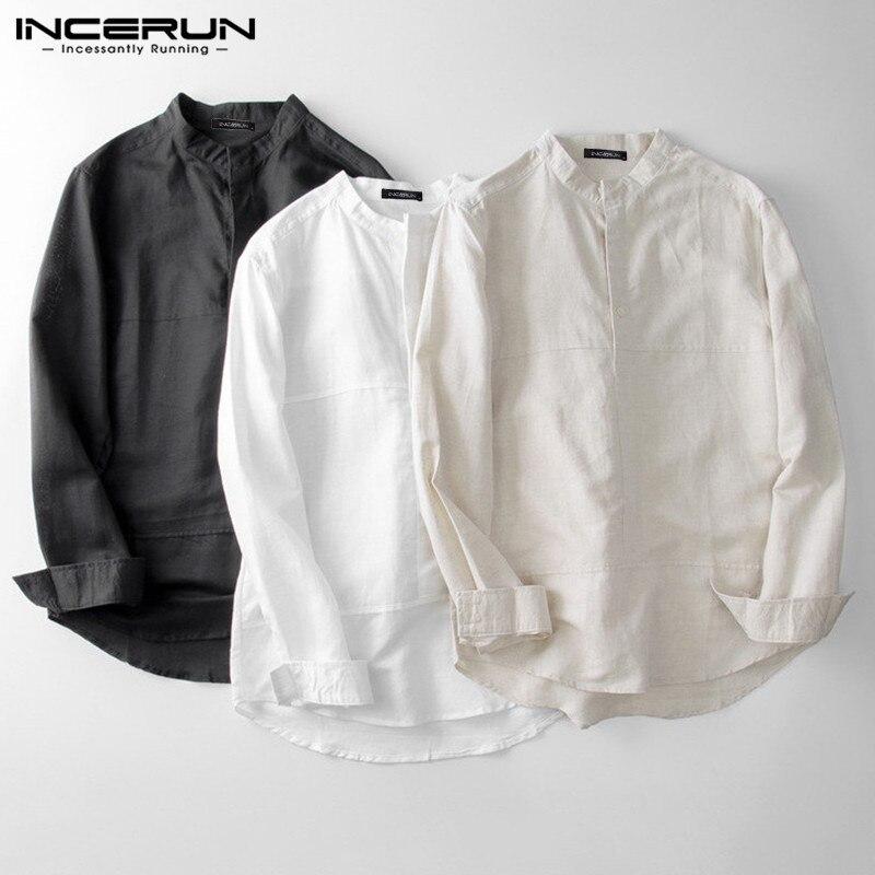 INCERUN 2020 Fashion Men Shirt Cotton Long Sleeve Stand Collar Solid Breathable Streetwear Camisa Casual Brand Shirts Harajuku