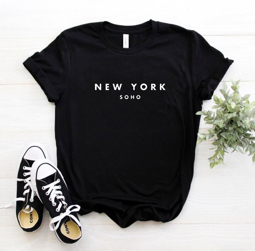 뉴욕 소호 편지 여성 티셔츠 코튼 캐주얼 재밌는 티셔츠 레이디 탑 티 힙 스터 6 색 드롭 선박 Z-253
