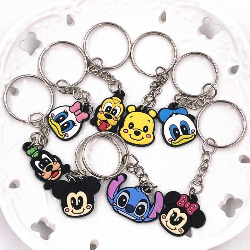 1pcs Mickey Lilo & Stitch Dos Desenhos Animados PVC Figuras Anime Chaveiro Encantos Pingente Chaveiros Trinket Key Holder Moda em massa efeito
