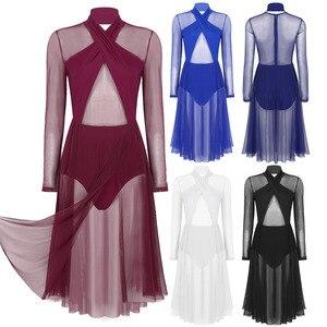 Image 2 - Vestido collant feminino, collant mangas compridas transparente malha pura vestido de dança ginástica adulto fantasia contemporânea traje de dança