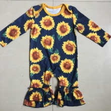 New Baby Girl Romper Newborn Sunflower Pattern Rompers Infant Ruffle Clothes Long Sleeve Jumpsuits Boutique Outfit