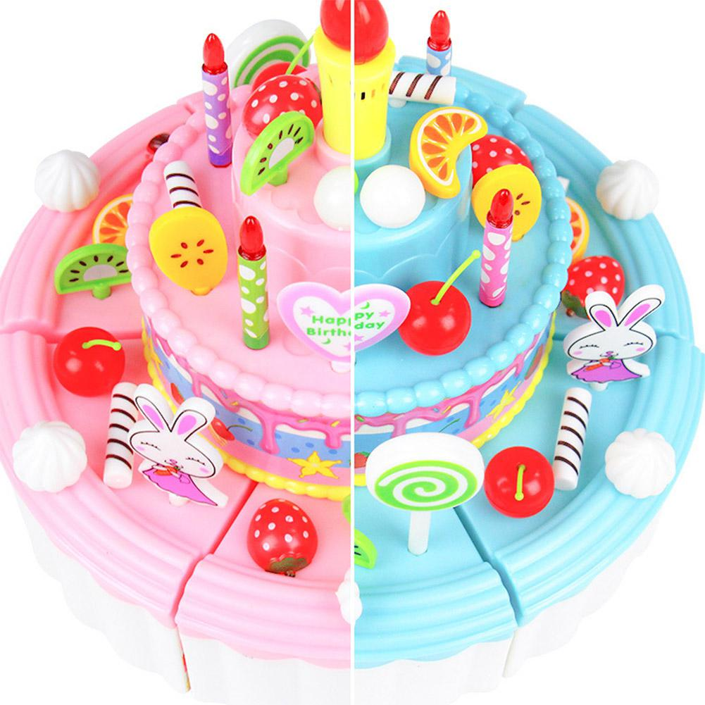 None 103pcs DIY Pretend Play Fruit Cutting Simulation Birthday Cake Food Toys With Light Music Children Gift