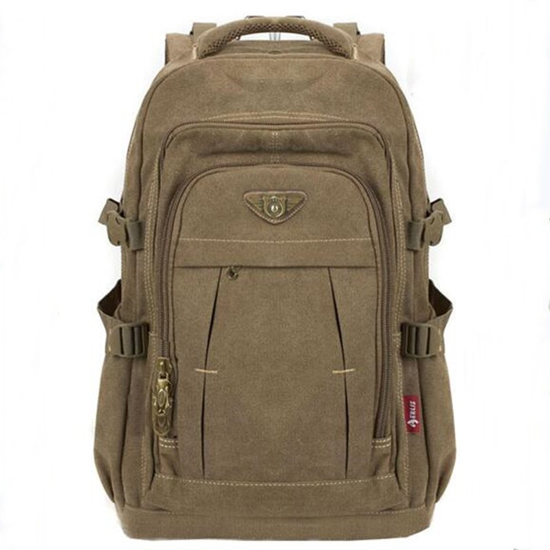 Mochila Notebook Canvas Backpack Rucksacks Schoolbags Laptop Travel-Shoulder Military