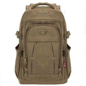 Image 1 - 남자 군사 캔버스 배낭 지퍼 배낭 노트북 여행 어깨 Mochila 노트북 Schoolbags 빈티지 대학 학교 가방