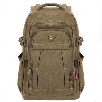 Mochila de lona militar para homens, mochila masculina para laptop, viagem, ombro, mochila escolar, vintage, bolsa escolar de faculdade