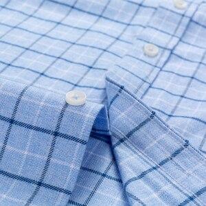 Image 5 - Mannen 100% Katoen Geborsteld Flanel Plaid Geruite Shirt Lange Mouw Standaard Fit Comfortabele Warm Casual Button Kraag shirts