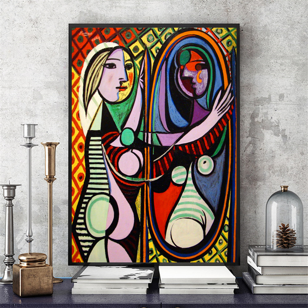 Women of Algiers and Girl Before a Mirror by Picasso Printed on Canvas