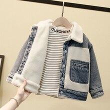 Lambswool Thick Warm Kids Denim Coat Outerwear 2020 New Autumn Turn Down Collar Pockets Boys Winter Jean Jackets