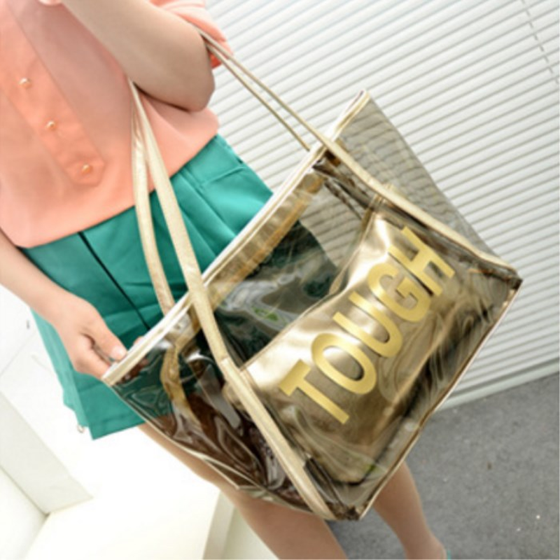 Bolso transparente tejido de poliéster PVC letras impresas bolsas para mujeres 2019 pequeño bolso de mano interior dos correas de hombro grande ca