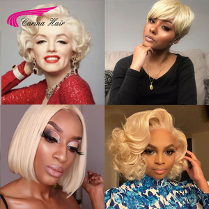 613 Bob Short wig Blonde straight 13x6 deep part Brazilian Lace Front Human Hair Wigs Transparent Lace wavy curly piexie cut wig(China)