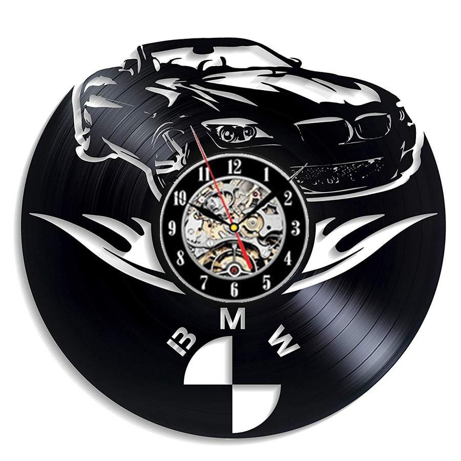 BMW Car Vinyl Record Wall Clock Modern Design For Car Shop BMW 3D Decoration Vintage Vinyl Clock Wall Watch Home Decor