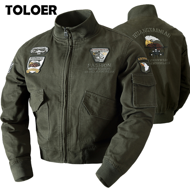 2021 Men's Military Bomber Jackets Men Autumn Winter Casual Solid Zipper Pilot Jacket New Stand Collar Male Embroidery Slim Coat 1