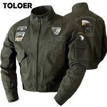 2021 dos homens militar bombardeiro jaquetas homens outono inverno casual sólido zíper piloto jaqueta nova gola masculino bordado casaco fino
