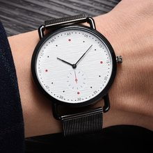 Top Luxury New Fashion Men Watch Black Mesh Band Dress Watches Men Alloy No Logo 2 Dial Simple Quartz Wristwatch Clock saat(China)