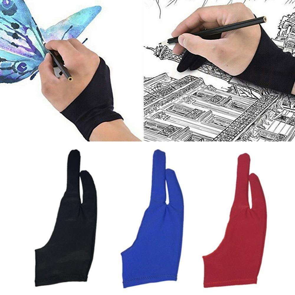 Black Red 2 Finger Anti-Fouling,Both For Right And Left Hand Artist Drawing Glove For Any Graphics Drawing Tablet Black S M L