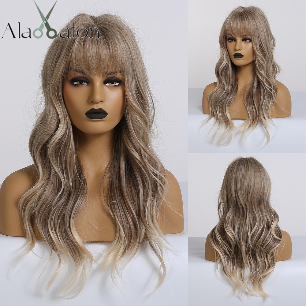 ALAN EATON Synthetic Wig Light Ash Brown Blonde Wig For Women Long Wavy Highlight Wigs With Bangs For Women Cosplay Costume Wigs