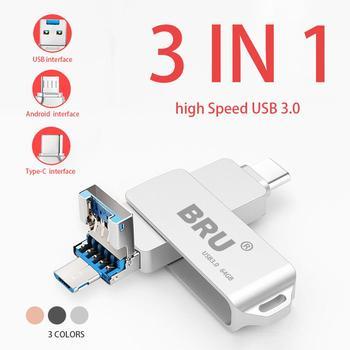 BRU 3 в 1 Otg Usb флешка 3,0 для Android type-c высокоскоростной флеш-накопитель Usb type C Флешка 16 ГБ 32 ГБ 64 ГБ 128 ГБ 256 ГБ флешки