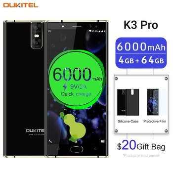 "Oukitel K3 Pro Android Mobile Phone MT6763 Octa Core 4GB 64GB 5.5"" FHD Screen 6000mAh 4 Cameras 9V 2A Quick Charge Smartphone"