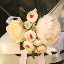 DIY wedding decor handle door car flower corsage hand flower accessories silk Valentine wreath garland window rearview mirror