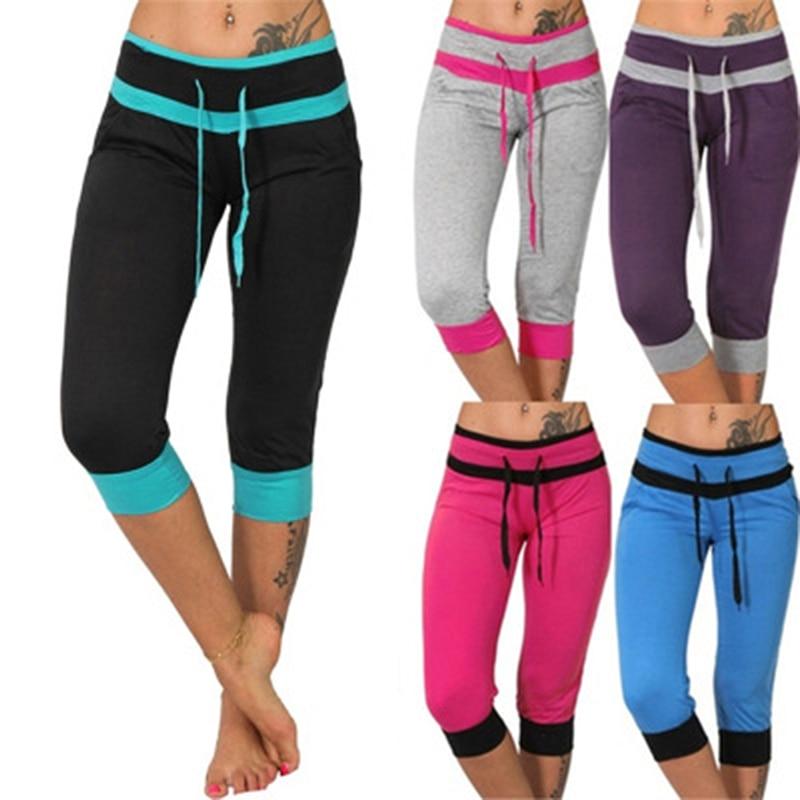 Women Ladies Pencil Pants Summer Drawstring Skinny Calf Length Pants Casual Stretch 3/4 Trousers Plus Size Female Capris