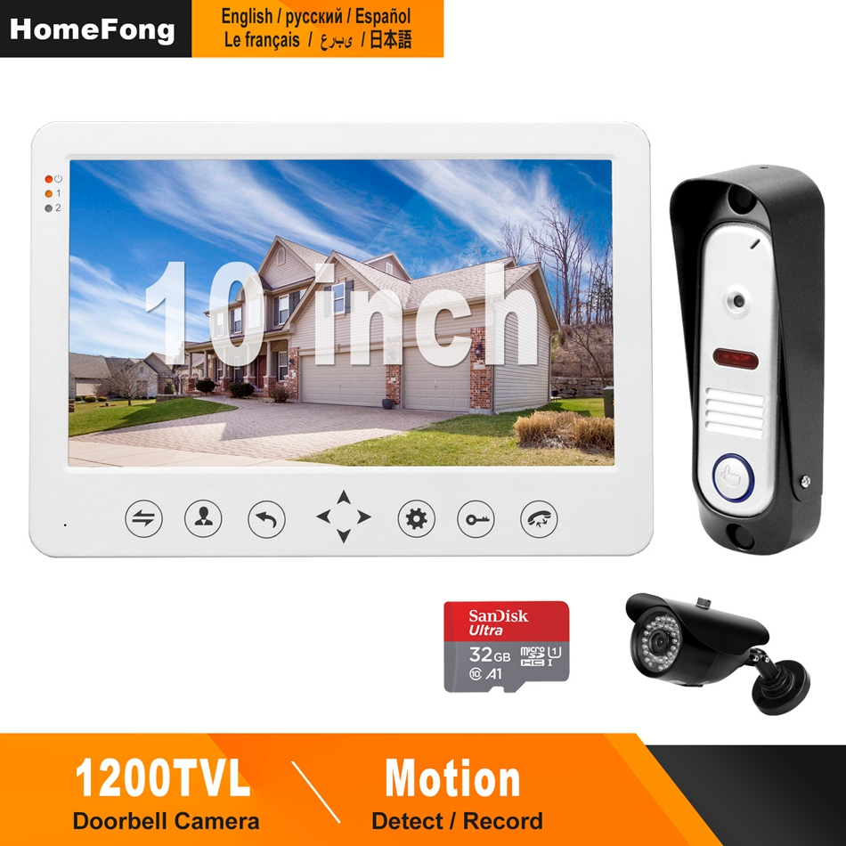 HomeFong Video Door Phone Intercom For Home Intercom System 10 Inch Monitor Support Motion Detect IR Night Vision Video Intercom