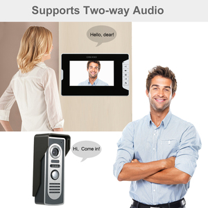 Image 2 - OWSOO 7 inç görüntülü kapı telefonu kapı zili interkom seti 2 kapalı monitör 1 açık kamera Hands free çağrı elektrikli kilit kontrol