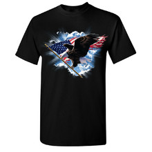 Flying Bald Eagle With American Flag Men'S T-Shirt 4Th Of July Usa Tee Sweatshirt Tee Shirt(China)