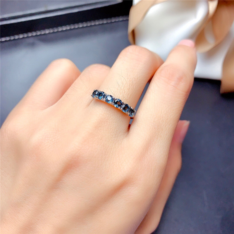 LeeChee London Blue Topaz Ring 3MM Natural Gemstone Jewelry for Young Girl Birthday Gift Real 825 Sterling Silver Free shipping