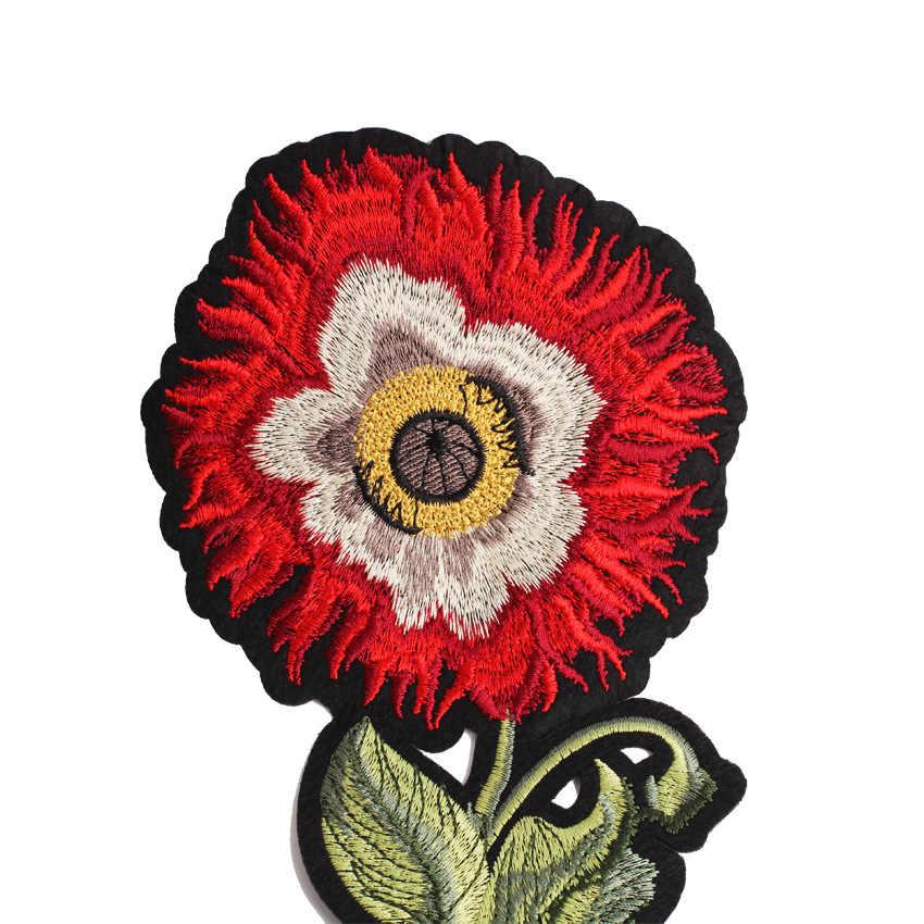 T-shirt fille Flroal Patch tournesol Patch Badge broderie coudre sur vêtements tissu Applique artisanat autocollants fer sur plante Badges
