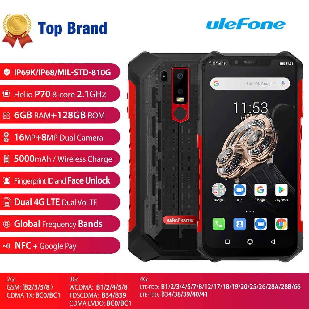 Original New Ulefone Armor 6S Smartphone 6+128GB Android 9.0 Helio P70 LTE 5000mAh NFC OTG 6.2'' Dual Sim Card Mobile Phone