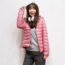 YICIYA 2019 Winter Ultra-light Plus Size Thin Down Jacket Women Slim Short Hooded Warm White Duck Coat Womens Outerwear